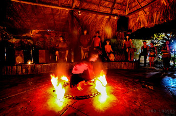 Fire dancer Palenque Performing Chiapas Mexico