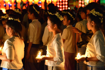 Candle bearers, Loy Krathong 2014 Chiang Mai, Thailand