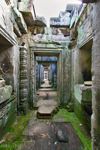 hallway between temples at Angkor Wat in Cambodia