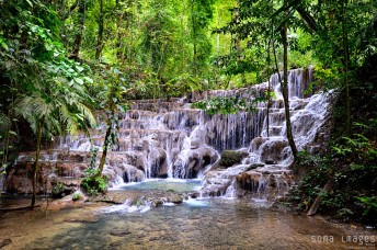 Beautiful waterfall, Mayan ruins, Palenque, Chiapas, Mexico.