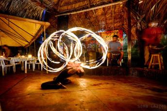 Fire dancer Palenque Performing Chiapas Mexico