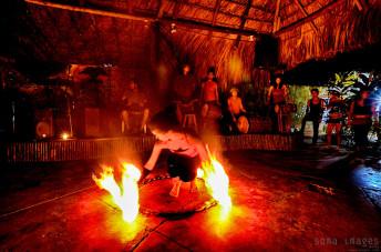 Fire dancer Palenque Preparing Chiapas Mexico