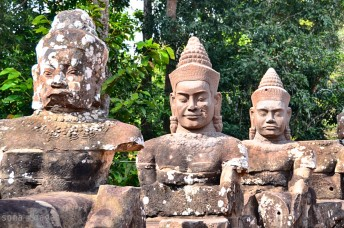 Statues along the roadside, Angkor Wat, Cambodia