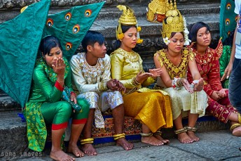 Group of young dancers, Angkor Wat, Cambodia