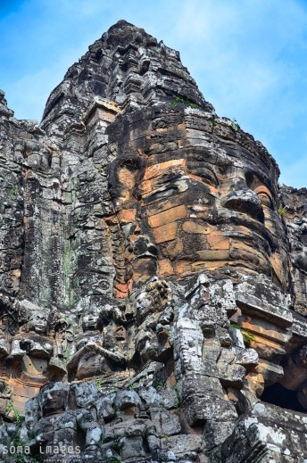 Looking up, Bayon statues, Angkor Wat, Cambodia