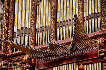 Faces on pipe organ, Mezquita de Córdoba, Cordoba, Spain